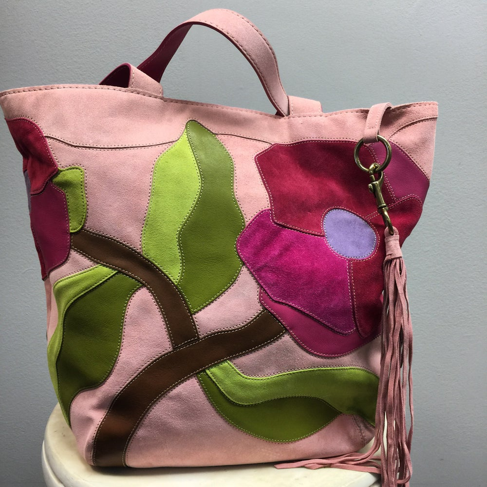 Image of COACH LIMITED EDITION POPPY FOR PEACE SCALLOPED SUEDE XL TRAVEL TOTE
