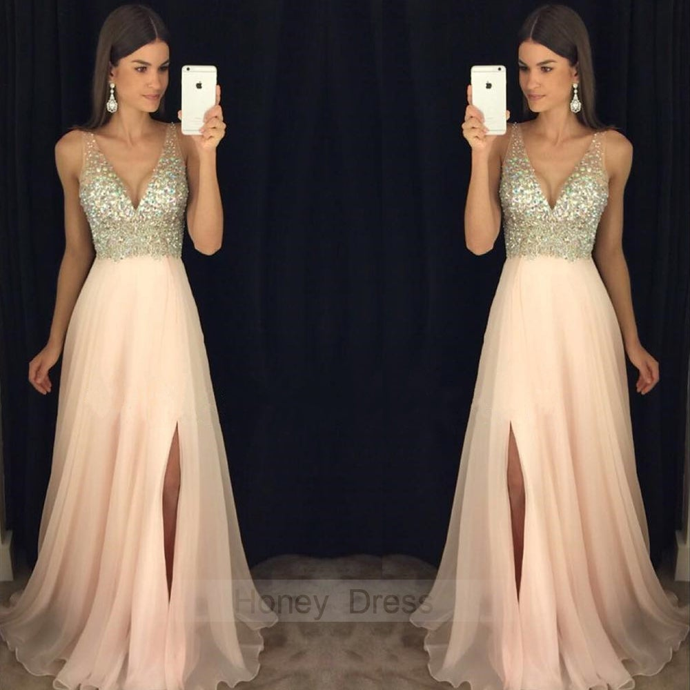 Image of Champagne Blue Mint Black Chiffon Beaded Bodice Deep V-Neck Long Prom Dress With Slit