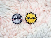 Image of MINI BEBE MOON & HAPPY SUN IRON-ON EMBROIDERED PATCHES