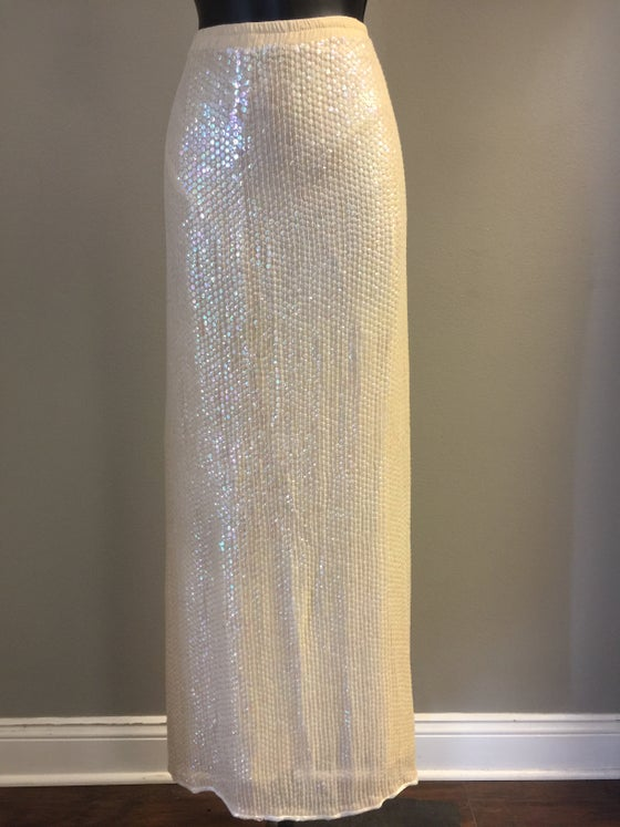 Image of VTG CREAMY SILK FROSTED SEQUIN MAXI SKIRT