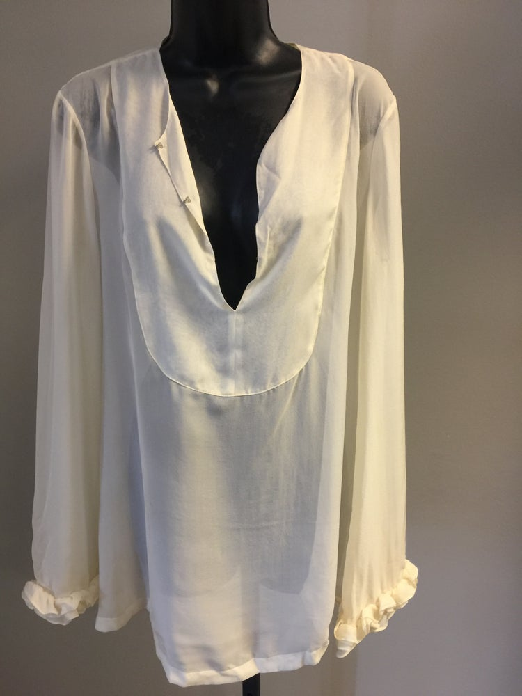Image of TORY BURCH WISPY SILK ROMANTIC RUFFLED BOHO BABE PULLOVER BLOUSE S/M