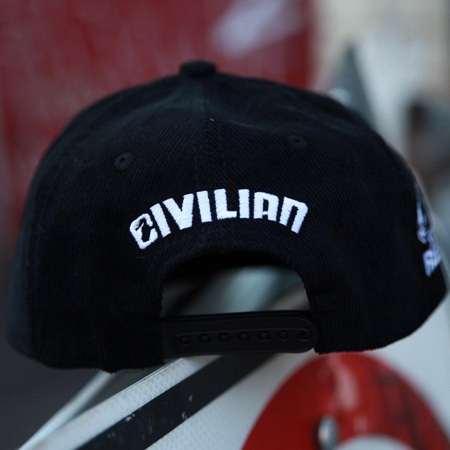 Image of Rioting Rebel Corduroy Black Snapback hat.