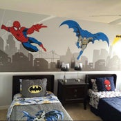 Image of Batman and Spiderman Super Hero Themed Room Wall Decal