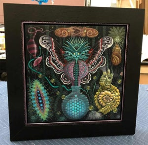 """Image of ORIGINAL PAINTING ~ MICROVERSE IV - 16 X 16""""/Framed 22 x 22"""""""