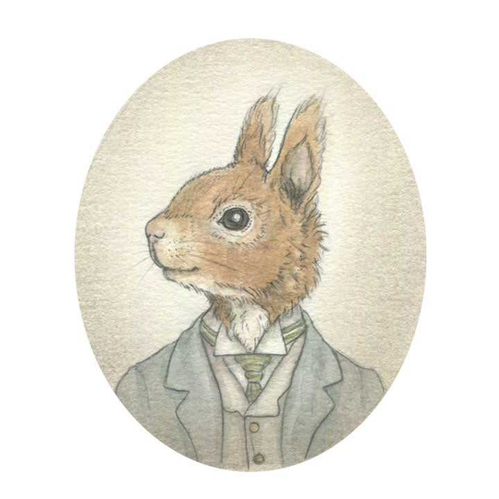 Image of Gentlemanly Rabbits Characters 4x6 print