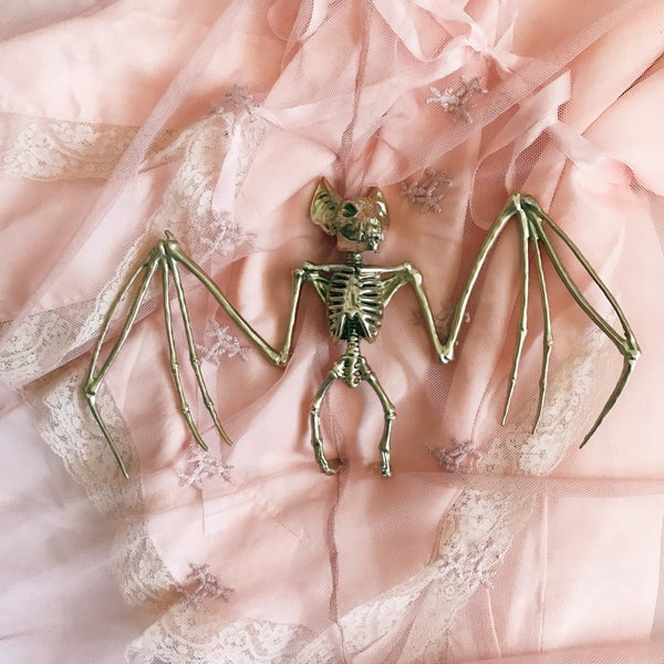 Image of Pre-order 11 inches golden bat skeleton wall decoration