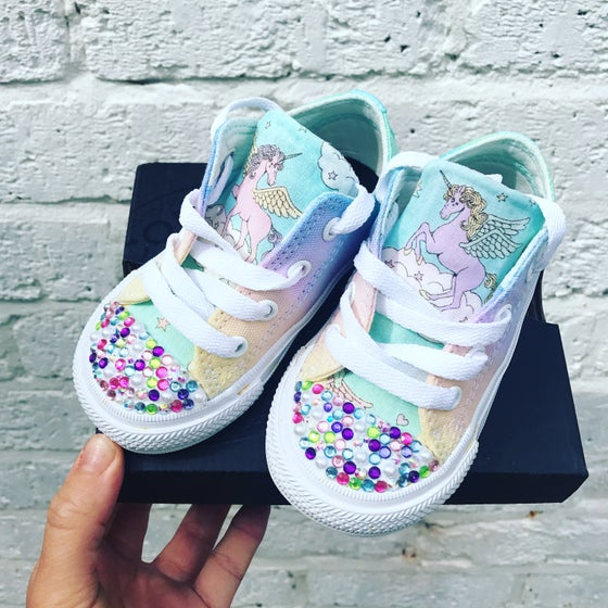 Image of Unicorn rainbow customised converse