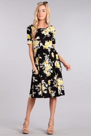 Image of Arch Waist Floral Pocket Dress | Black or Navy