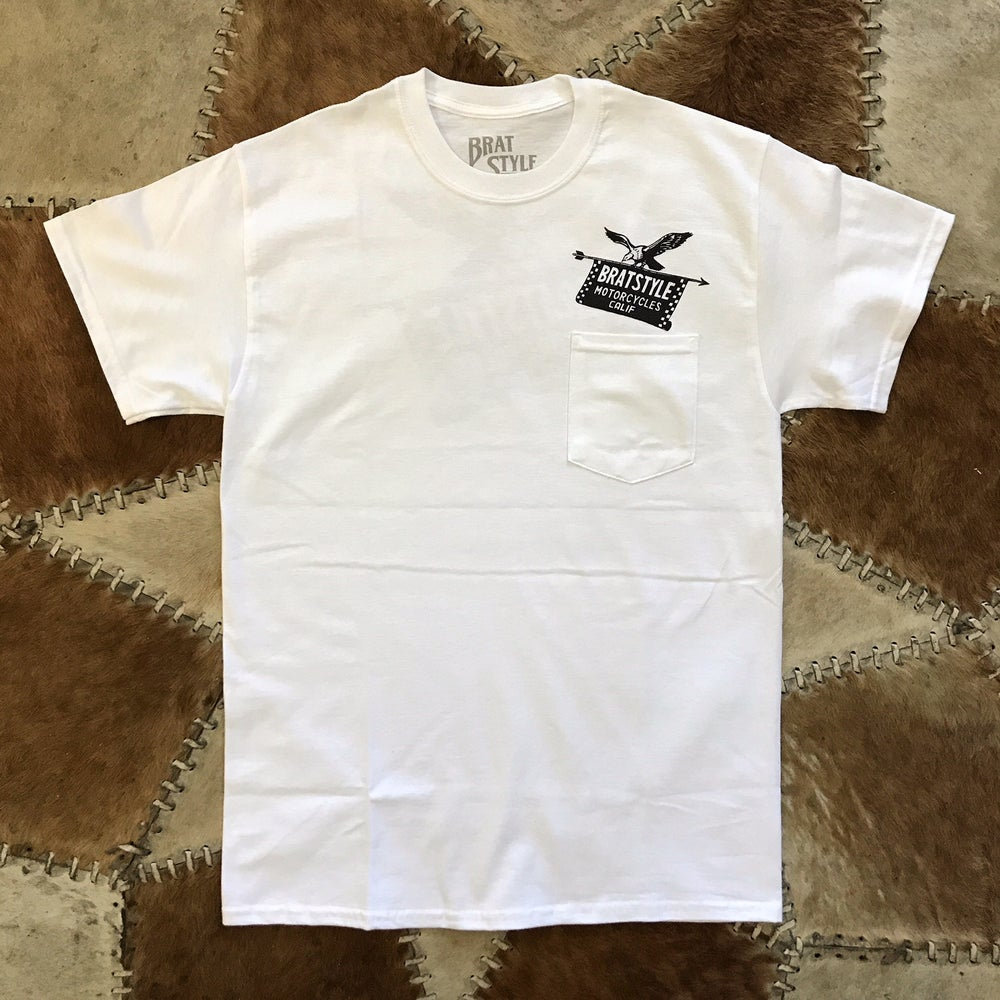 Image of EAGLE&FLAG T-SHIRT with Pocket WHITE