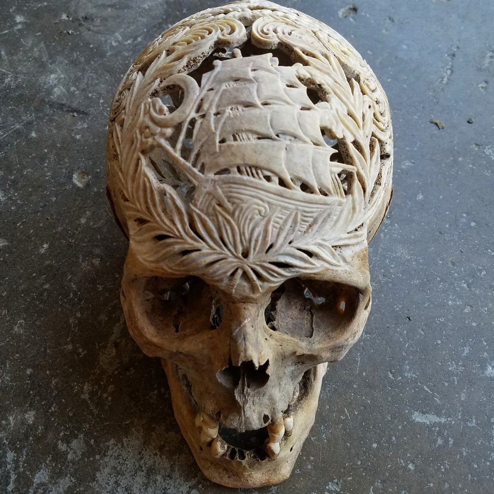 "Image of ""The Dreamer"" carved human skull"