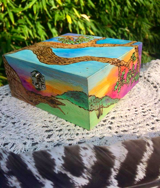 Image of Painted Landscape: Oak Box
