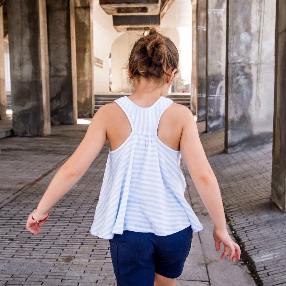 Image of Flying Trapeze Girl's Tank . Blue Stripe