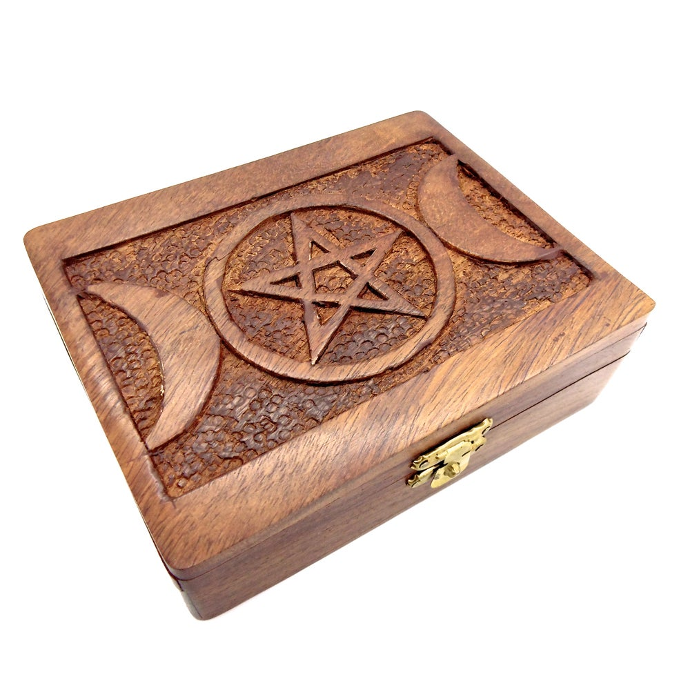 Image of Triple Goddess Carved Wooden Box