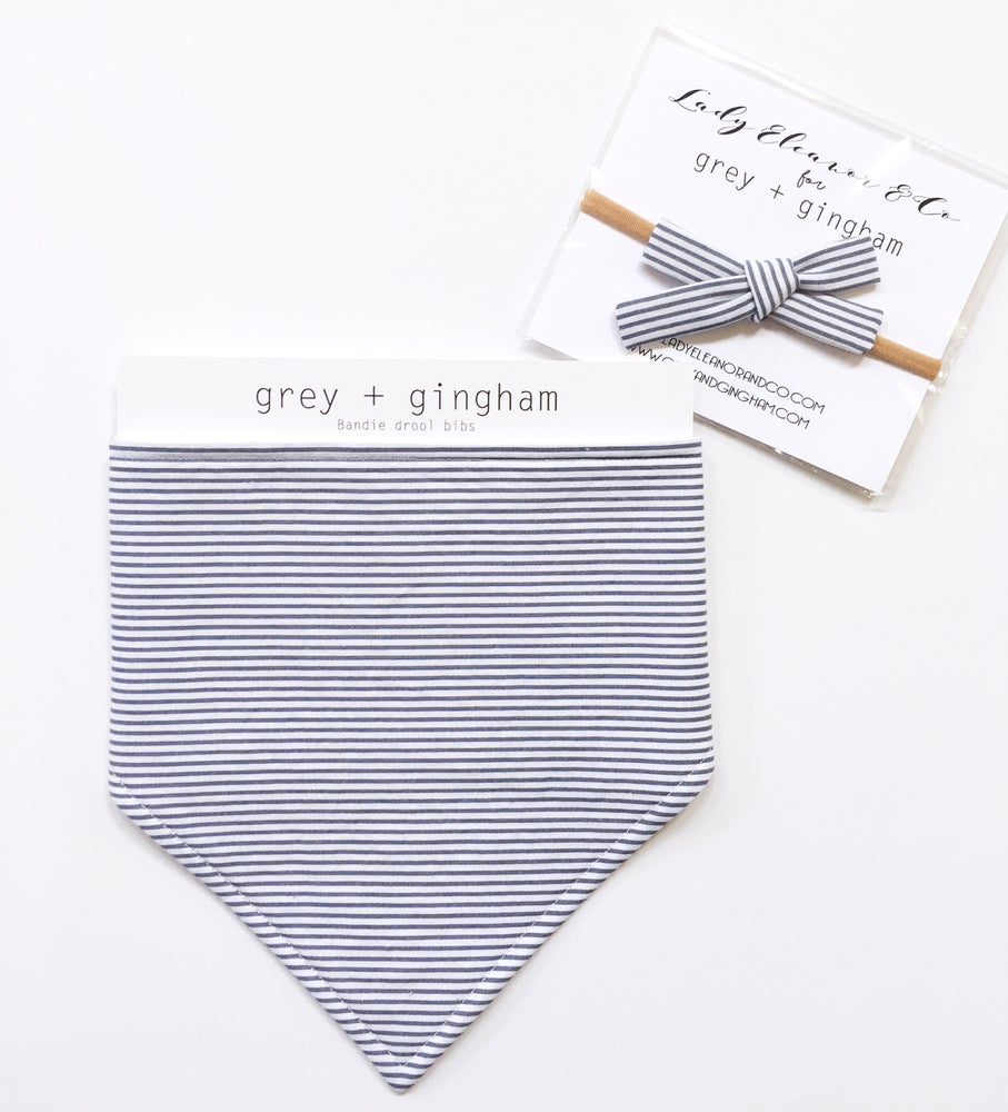 Image of Grey Stripe Bandie & Bow Bundle