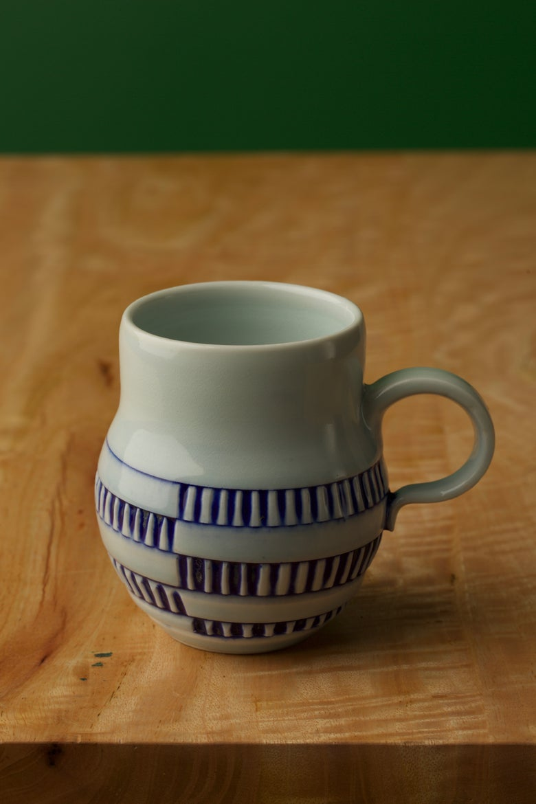 Image of Hand thrown Mugs - DNA pattern