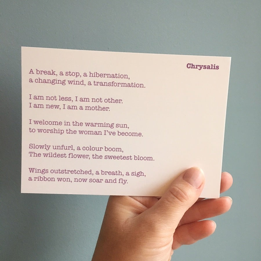 Image of Chrysalis - Poem Postcard (Small - A6 size and 7 x 5 medium size)