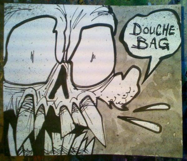 Image of 'Swearing Skullz: Douche Bag' Original Painting