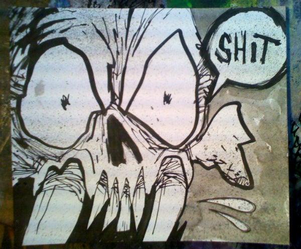 Image of 'Swearing Skullz: Shit' Original Painting