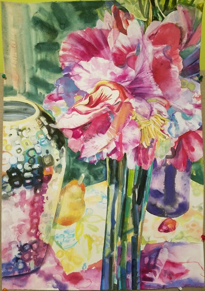 Image of Pink Flowers and Vases