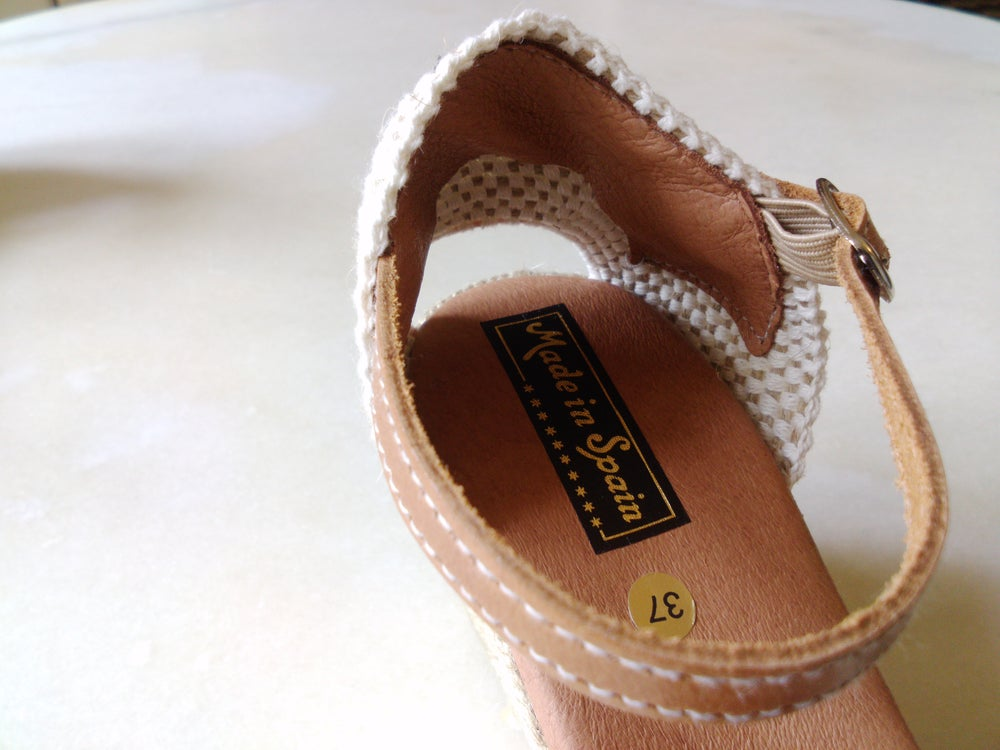 Image of 7 cm wedge espadrilles - E3 - jute & leather - natural - EU sizes 35 to 41