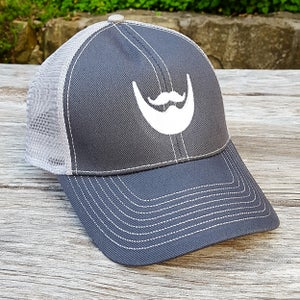 Image of Beard Man Mesh Trucker Mesh Hat - Grey Snapback Cap with Embroidered Beard Logo