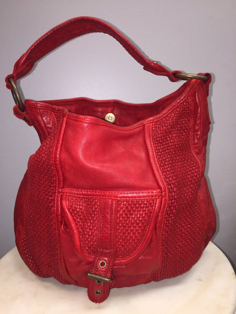 Image of VTG CHERRY JUBILEE THICK LEATHER BRAIDED BOHO SAC PURSE