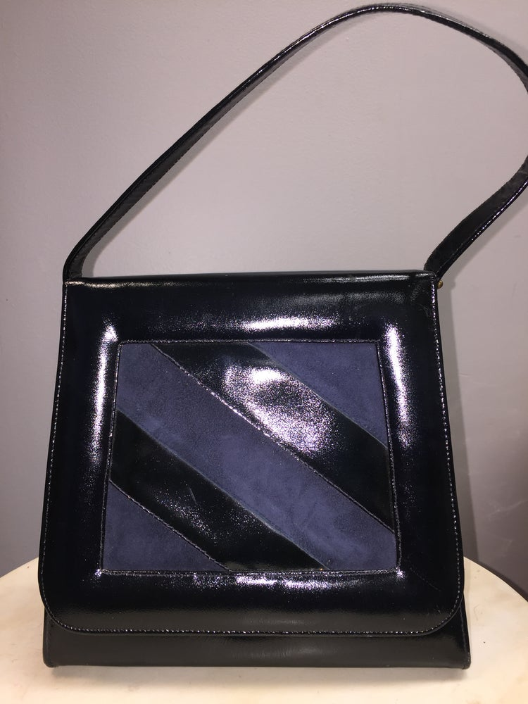 Image of VTG NAUTICAL PATENT LEATHER SUEDE MOD BOX PURSE