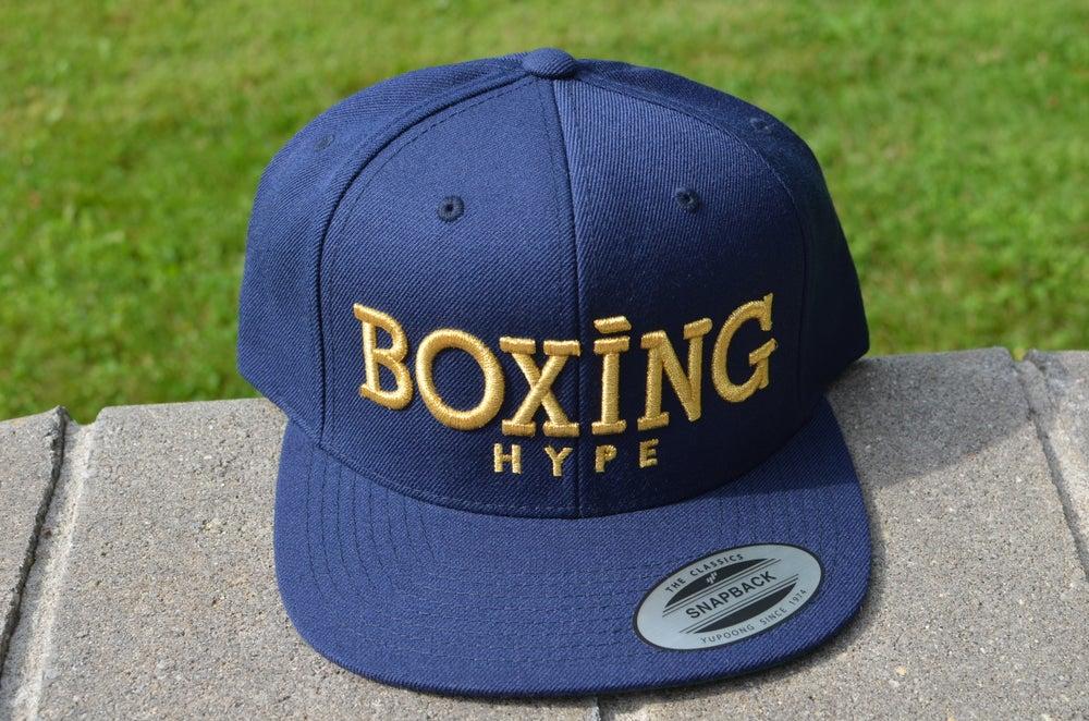 Image of Navy on Gold BoxingHype  SnapBacks