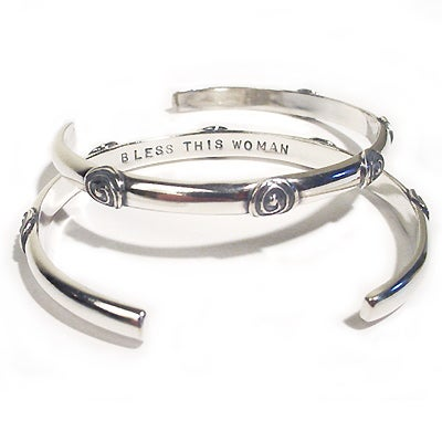 "Image of ""Bless This Woman"" sterling cuff"