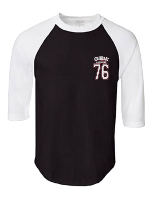 Image of Legendary American 76 team raglan white and black