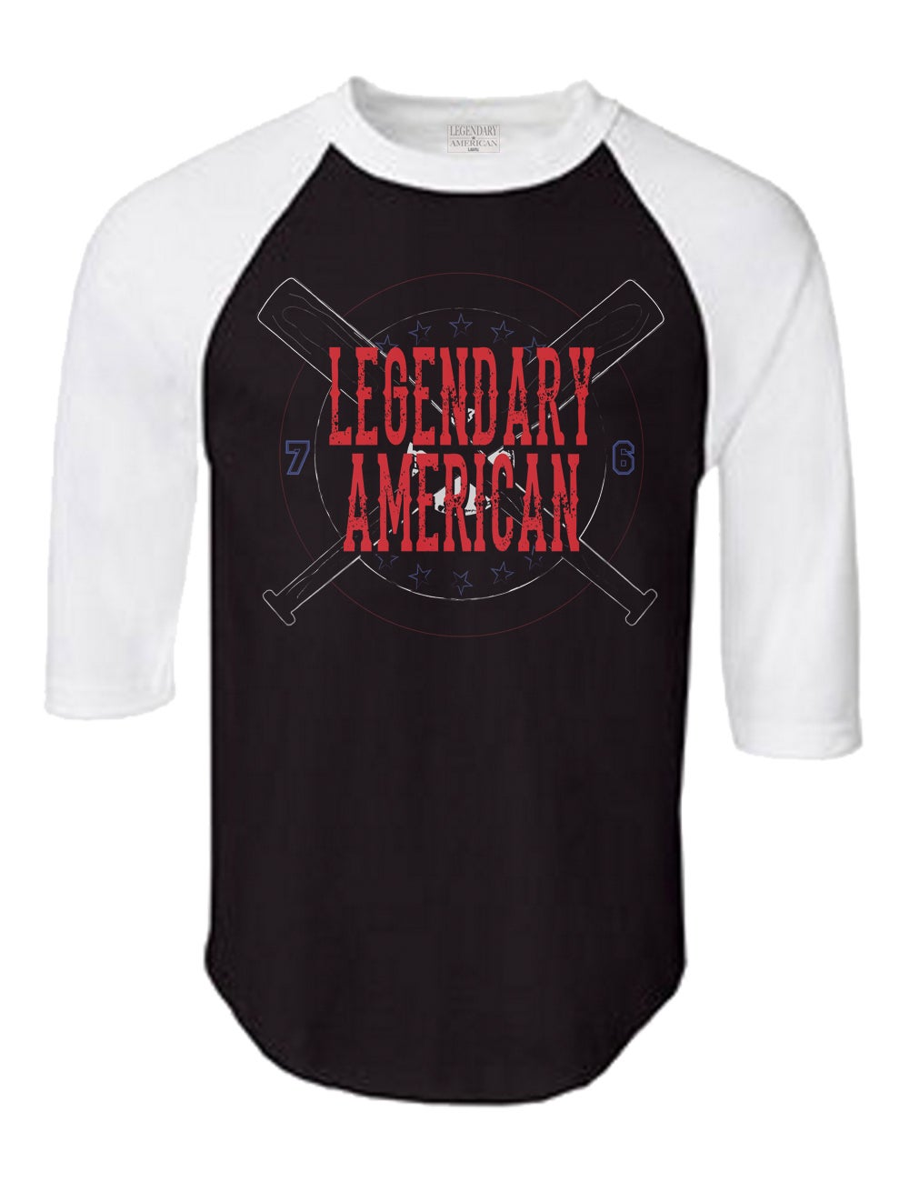 Image of Legendary American Baseball raglan white and black