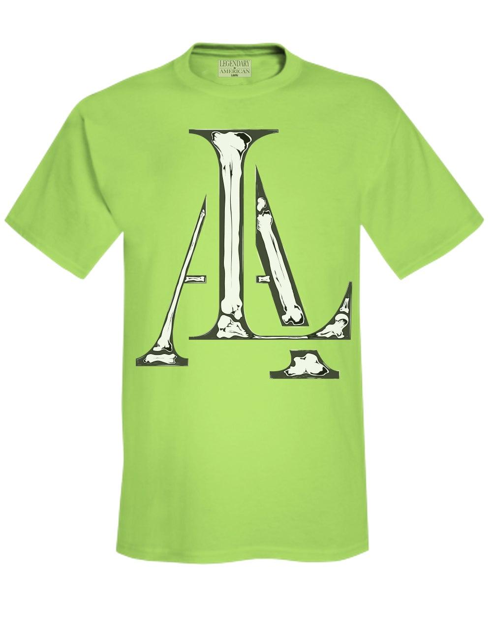 Image of Legendary American LA Bones tee in green