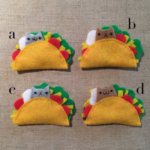 Image of cat taco brooches