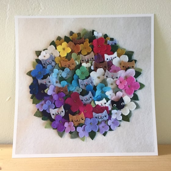 Image of cat bouquet print