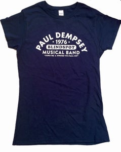 Image of Paul Dempsey '1976' t-shirt. White print on navy tee - fitted ladies tee.