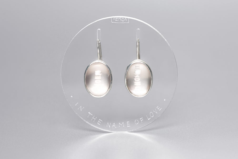 Image of silver earrings with rose quartz IN NOMINE AMORIS