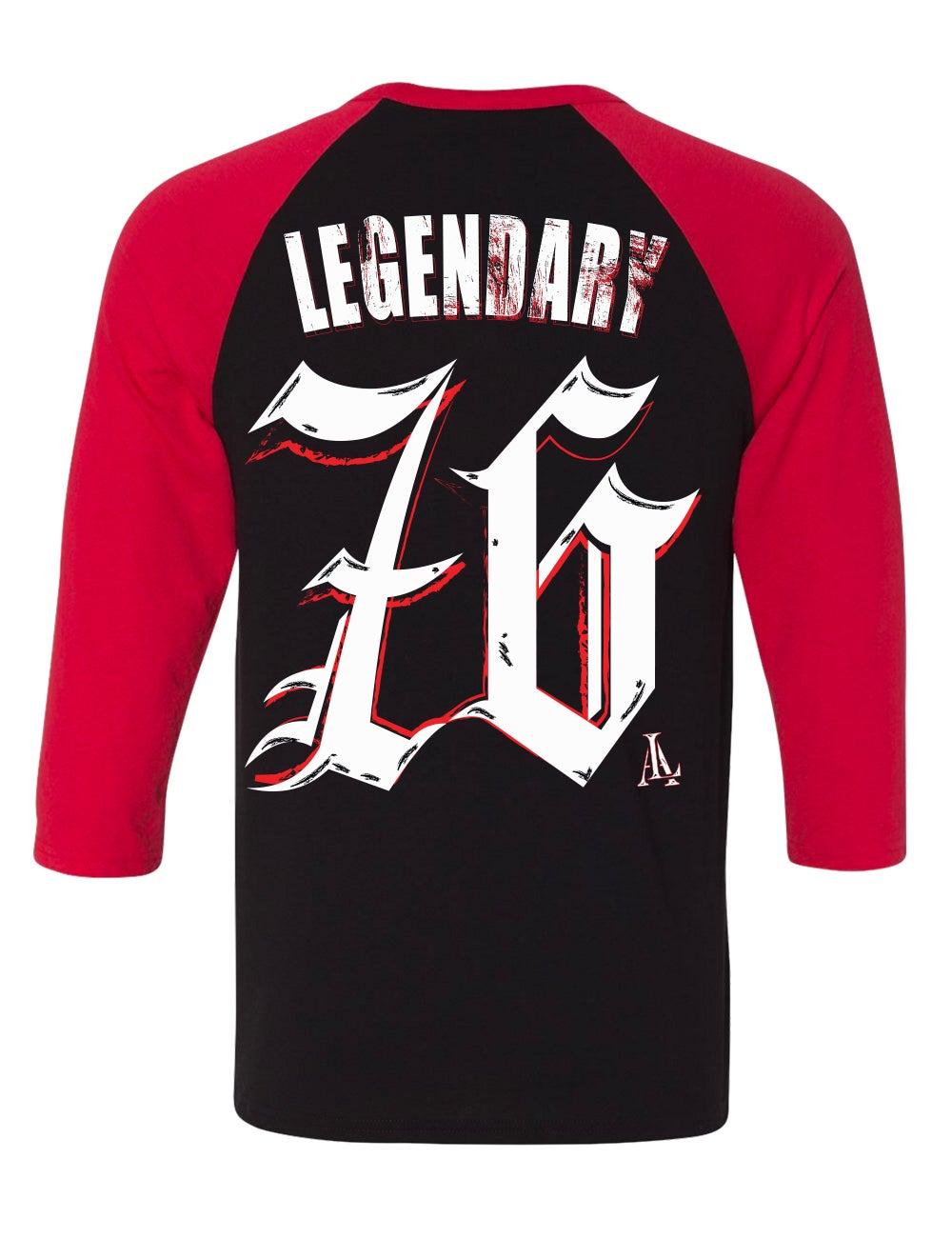 Image of Legendary American 76 raglan black and red