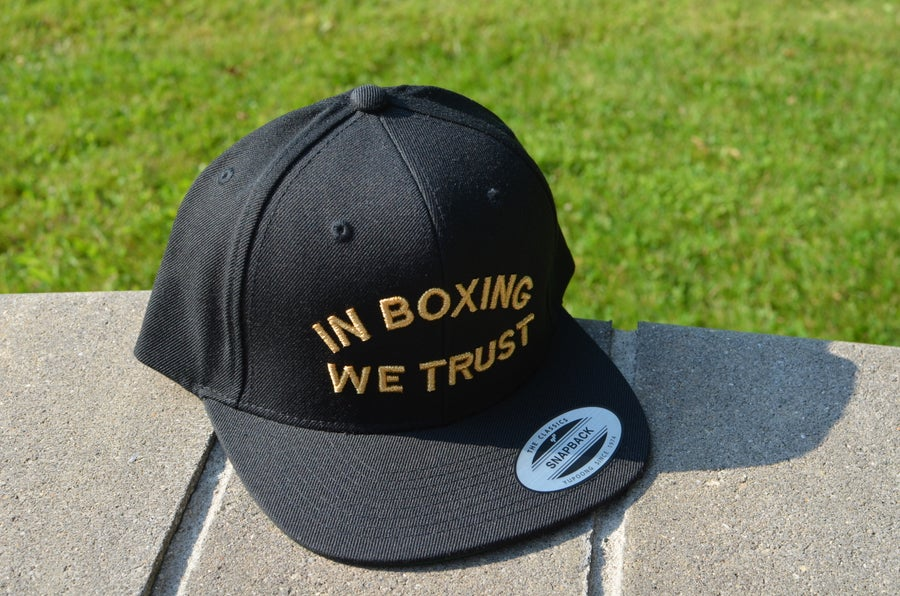Image of Black on Gold in Boxing We Trust SnapBacks