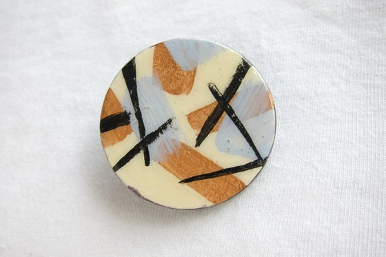 Image of White Mid Century Circle Brooch