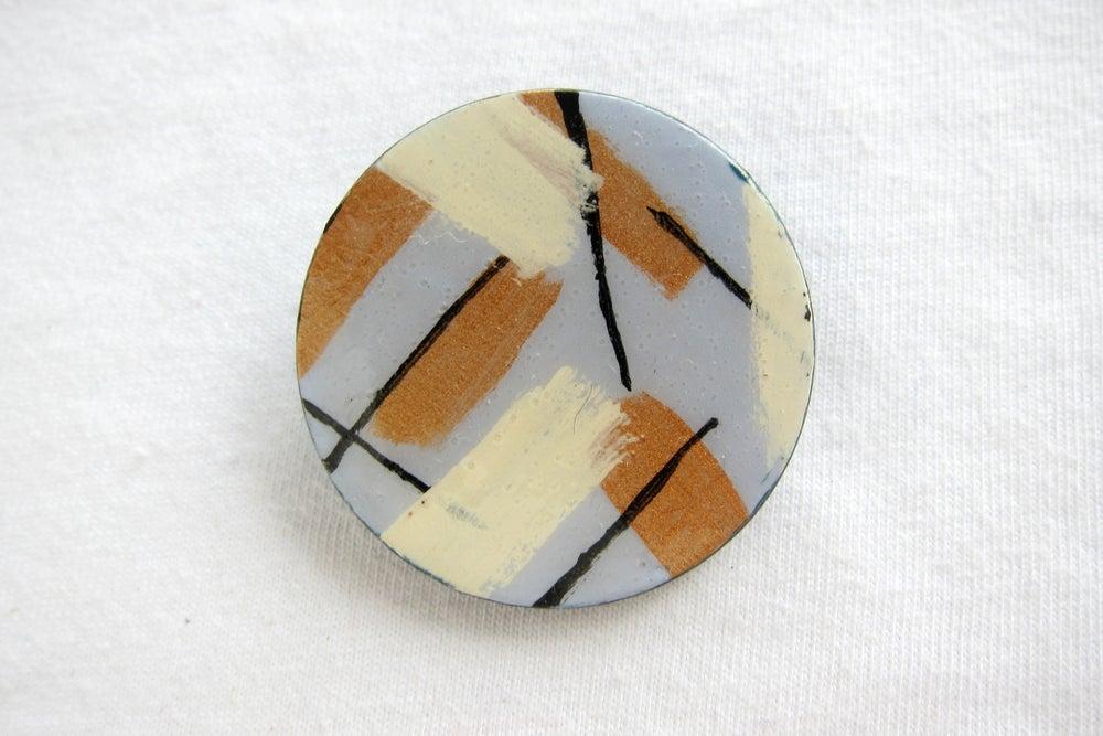 Image of Blue mid century circle brooch