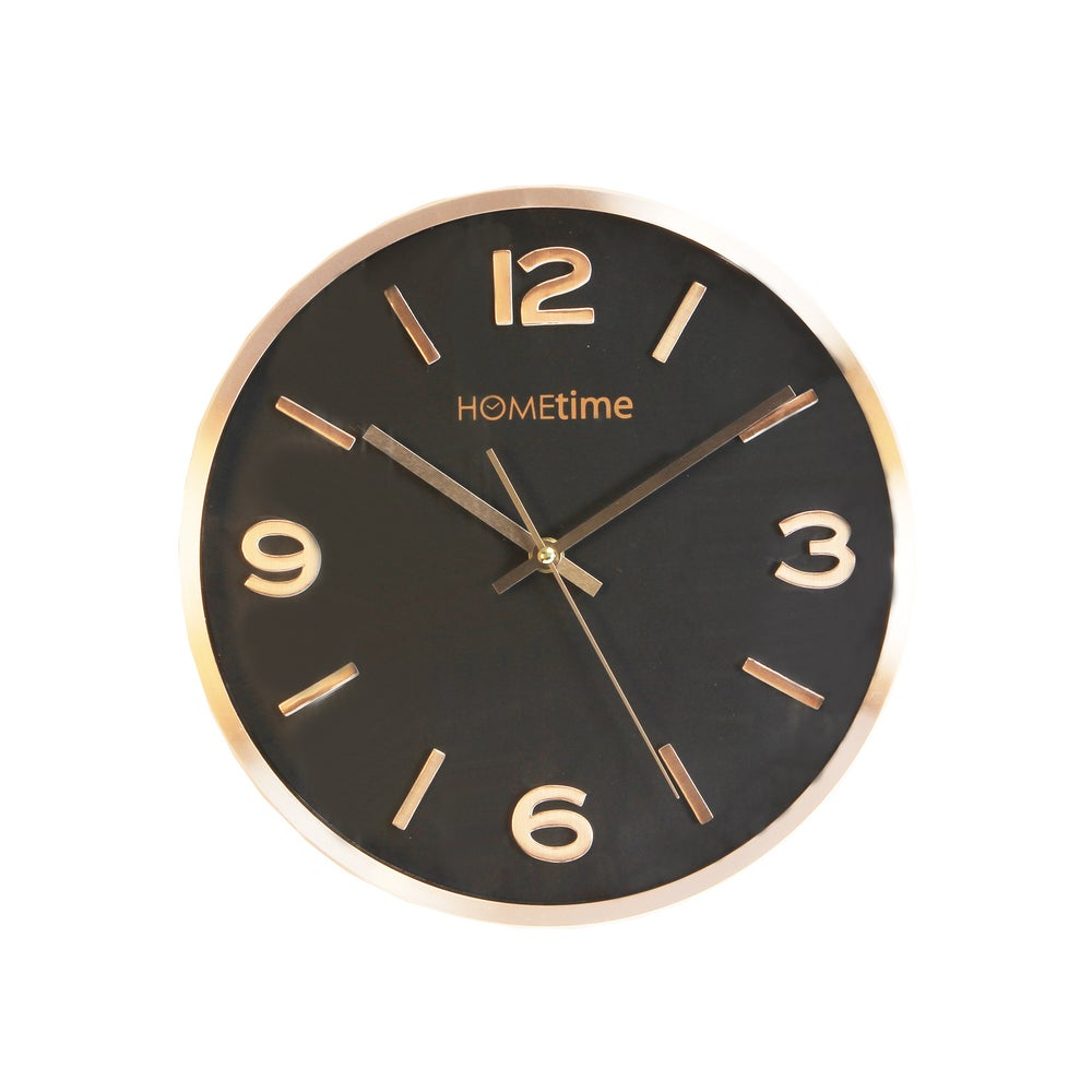 Image of Metal Copper Wall Clock with Black Face 30cm
