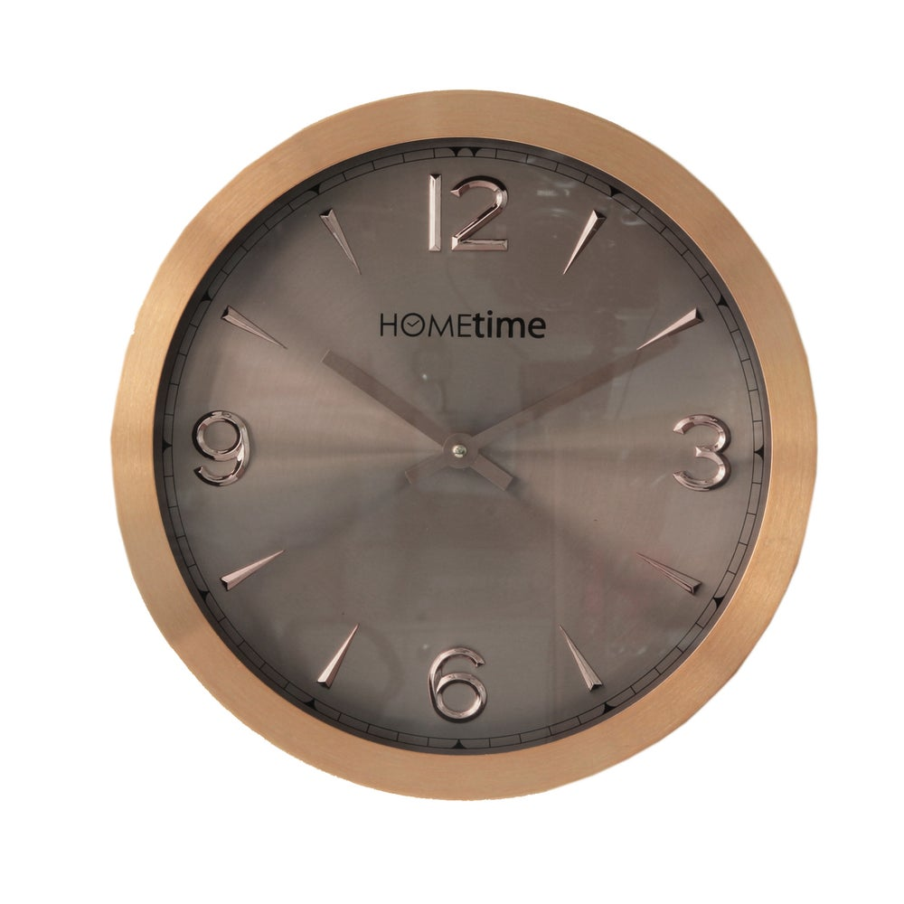 Image of Metal Copper Rose Gold Clock with Shimmer Finish 30cm