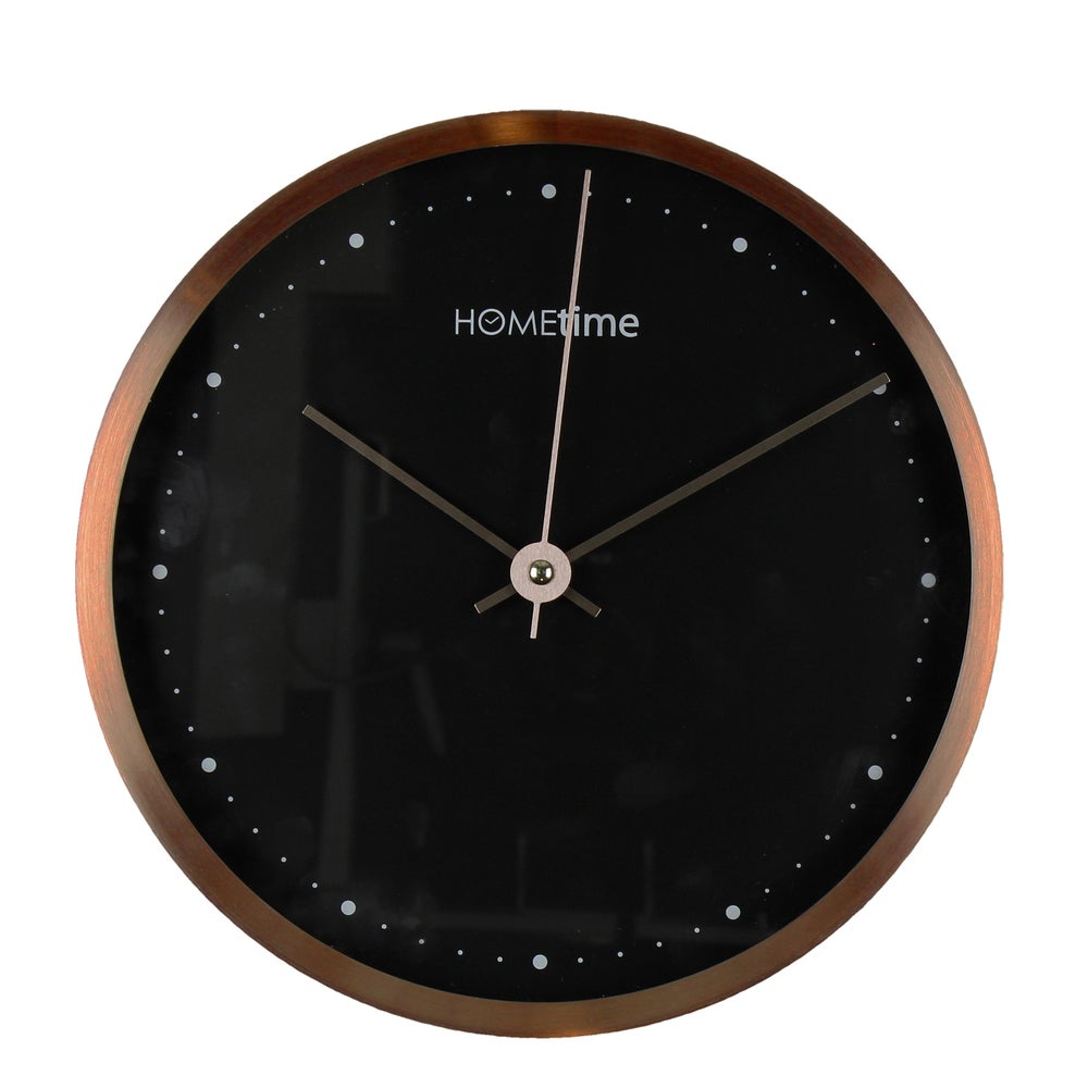 Image of Metal Copper Clock with Black Face 25cm