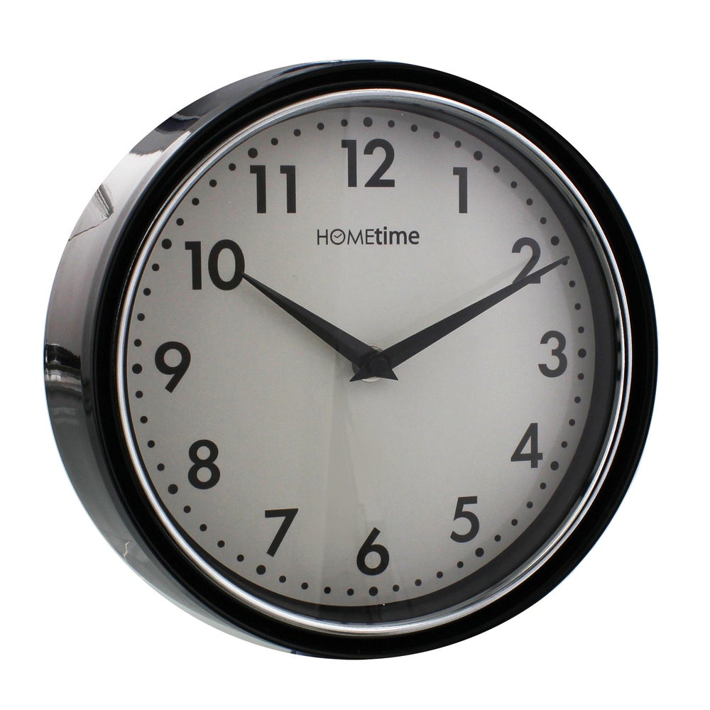 Image of Metal Deep Case Black Wall Clock with White Face 21cm