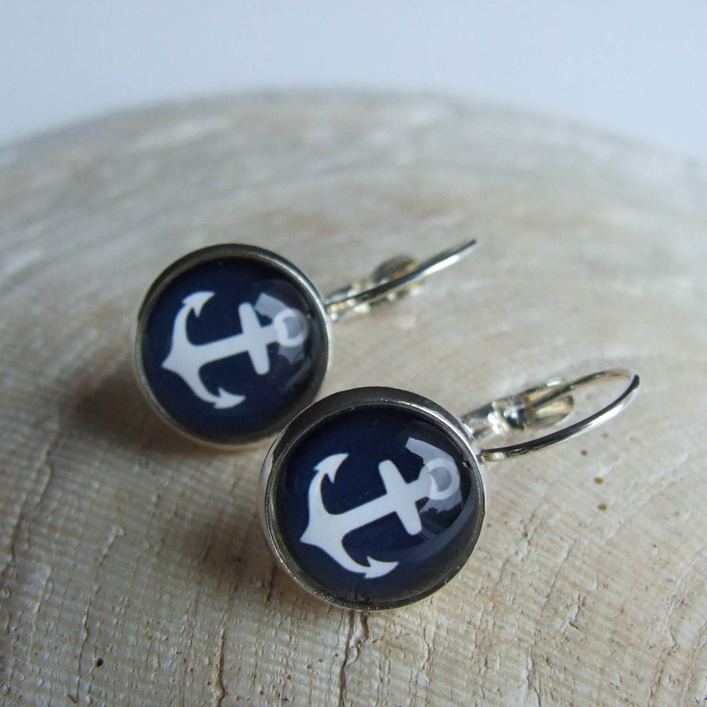 Image of Anchors Aweigh Earrings – Navy