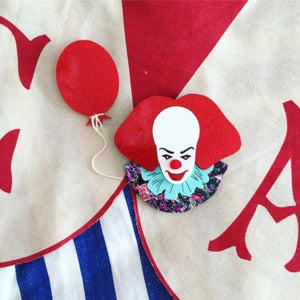 Image of Clown & Red Balloon Brooch (SET or INDIVIDUAL)