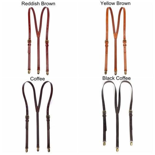 Image of Genuine Leather Suspenders / Groomsman Wedding Suspenders in Black Coffee 0191
