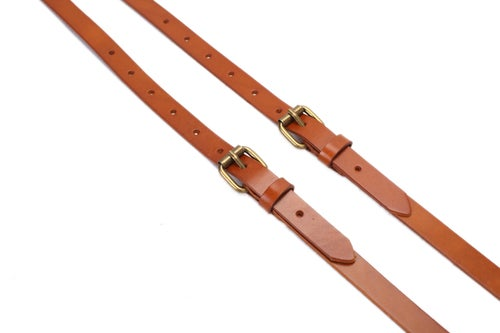 Image of Genuine Leather Suspenders / Groomsman Wedding Suspenders in Yellow Brown 0191