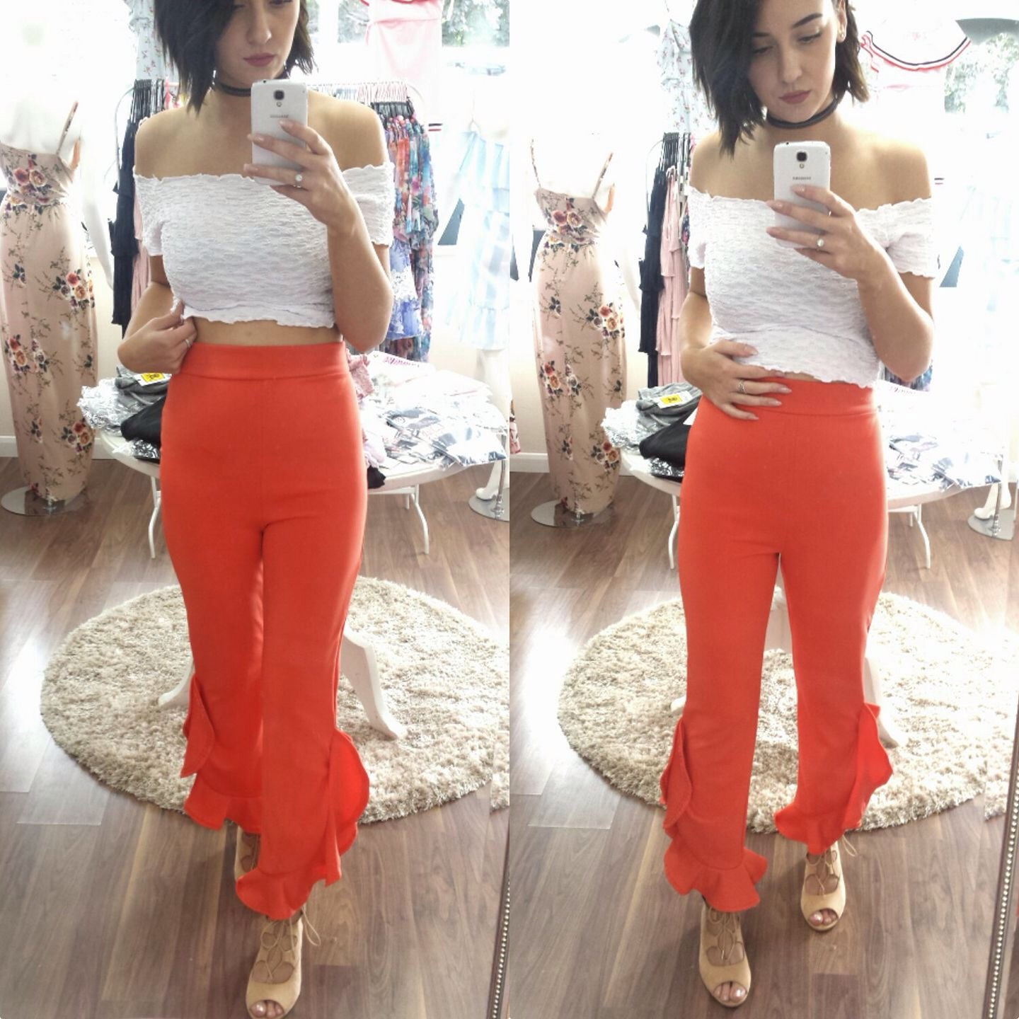 Image of Orange high waisted frill trousers