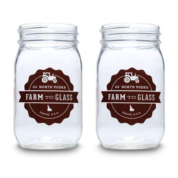 Image of 44º North Vodka Nectarine 50/50 16 oz Mason Jars Set of 4
